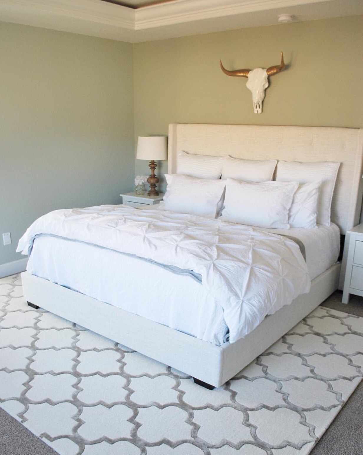 bedroom area rug PAINT THE WORLD WHITE by Brynne